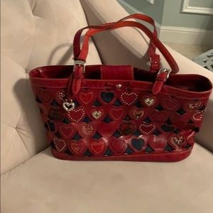 Brighton red heart & denim bag